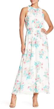 Nine West Ruffle Collar Floral Maxi Dress