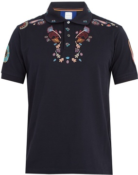 Paul Smith Floral-embroidered cotton polo shirt