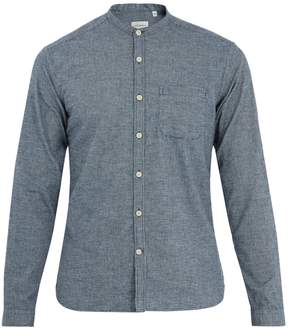 Oliver Spencer Grandad-collar micro-checked cotton shirt