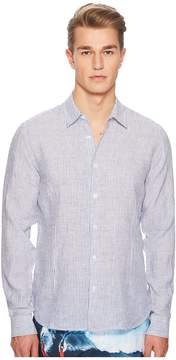Orlebar Brown Morton Long Sleeve Linen Stripe Shirt Men's Clothing