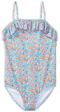 Polo Ralph Lauren Girls' Ruffled Floral-Print Swimsuit - Big Kid