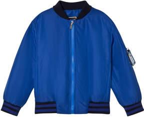 Versace Blue Branded Back Bomber Jacket