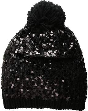 Betsey Johnson Sequin Shine Pom Beanie Beanies