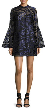 Camilla And Marc Coco Bell-Sleeve Metallic Cocktail Dress, Blue/Multicolor
