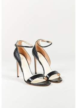 Francesco Russo Nero Black Lizard Skin & Leather Ankle Strap Sandals.
