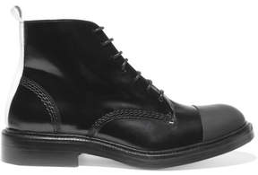 Joseph Rubber-paneled Glossed-leather Boots - Black