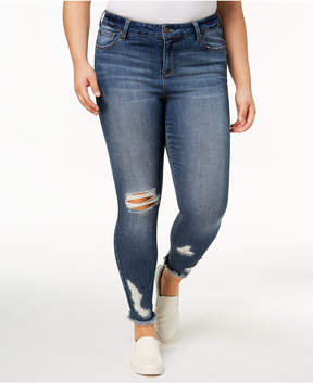 Celebrity Pink Plus Size Ripped Skinny Ankle Jeans