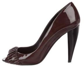 Burberry Patent Leather Ruched Pumps