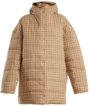 Awake Checked funnel-neck quilted-cotton coat