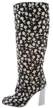 Max Mara Floral Print Knee-High Boots