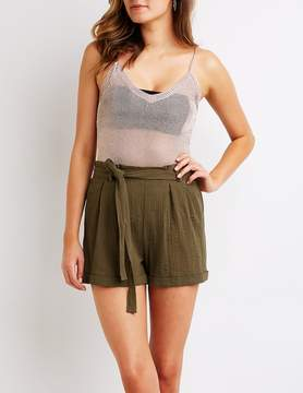 Charlotte Russe Gauze Tie Front Paperbag Shorts