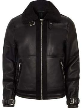 River Island Mens Black faux shearling aviator jacket