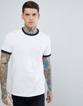 Farah Groves Slim Fit Ringer T-Shirt in White