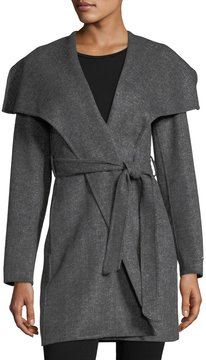 T Tahari Ella Double-Face Twill Wrap Coat