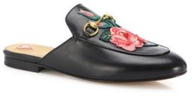 Gucci Princetown Floral Leather Flat Mules