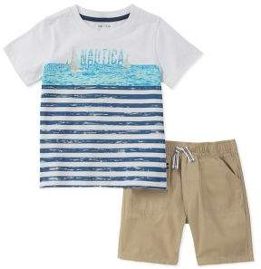 Nautica Baby Boy's Two Piece Short-Sleeve Graphic Tee and Shorts Set