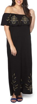 Evans Plus Size Women's Embroidered Off The Shoulder Maxi Dress