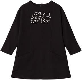 Karl Lagerfeld Black #Karl Jersey Dress with Pockets