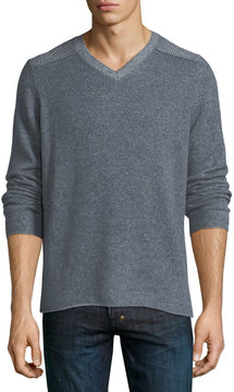 Neiman Marcus Cashmere Ribbed-Shoulder Sweater