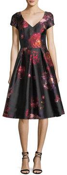 David Meister Short-Sleeve Floral-Brocade Cocktail Dress w/ Jeweled Embellishments