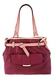 B. Makowsky B.Makowsky Leather Belted Tote Bag with Front Pocket