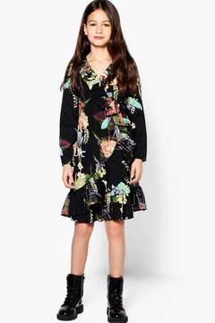boohoo Girls Oriental Print Ruffle Tea Dress