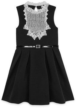 Knitworks Knit Works Black Sleeveless White Lace Bib Skater Dress - Girls' 7-16