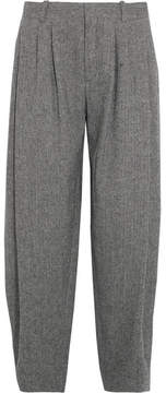 Chloé Pleated Wool-blend Tweed Wide-leg Pants - Gray