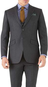 Charles Tyrwhitt Charcoal Stripe Slim Fit Flannel Business Suit Wool Jacket Size 38
