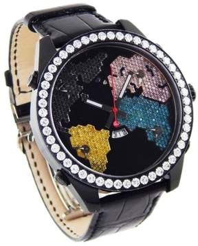 Jacob & co 5 Time Zone Diamond The World is Yours Black PVD & Leather 47mm Watch