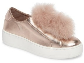 Steve Madden Women's Breeze Faux Fur Pom Sneaker