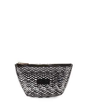 Neiman Marcus Squiggle-Stripe Clear Pouch Bag, Black