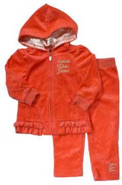 Calvin Klein Infant Girls Salmon Red Velour Jacket & Pants Baby Track Suit 12M