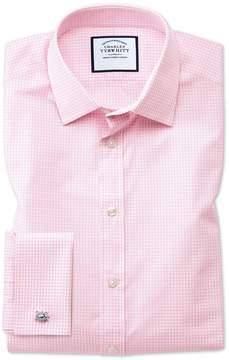 Charles Tyrwhitt Slim Fit Small Gingham Light Pink Cotton Dress Shirt French Cuff Size 15/33