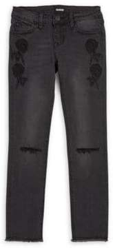 Hudson Girl's Iris Embroidered Ankle Jeans
