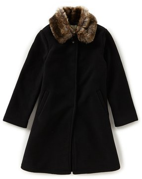 Copper Key Big Girls 7-16 Fleece Faux-Fur Collar Coat