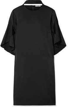 Fendi Cutout Ruffled Satin Mini Dress - Black