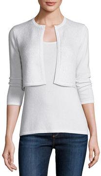 Neiman Marcus 3/4-Sleeve Sequin Cashmere Shrug