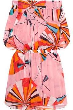 Emilio Pucci Off-The-Shoulder Printed Cotton-Voile Mini Dress