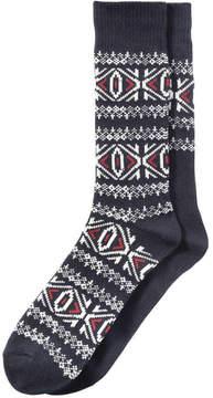 Joe Fresh Men's 2 Pack Fair Isle Socks, JF Midnight Blue (Size 10-13)