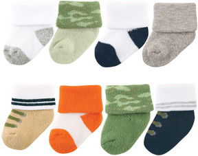 Luvable Friends Green & White Camouflage Eight-Pair Socks Set - Infant & Kids