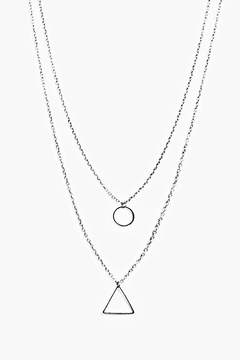 boohoo Double Layer Geometric Necklace