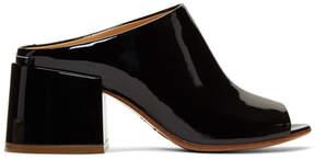 Maison Margiela Black Patent Flare Heel Mules