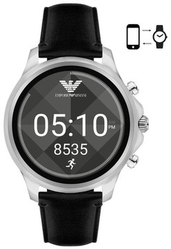 Emporio Armani Men's Touchscreen Leather Strap Smartwatch, 46Mm