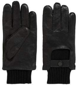 HUGO BOSS Nappa Leather & Wool Knit Tech Touch Glove T-Herkan TT 9 Black