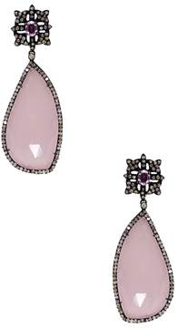 Amrapali Women's Pink Hydroquartz & Sapphire Drop Earrings