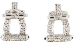 Charriol 18K Diamond & Sapphire Stud Earrings
