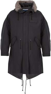 Calvin Klein Shearling-trimmed cotton and silk-blend parka