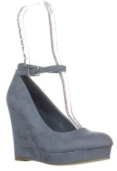 Material Girl Mg35 Vivie Ankle-strap Wedge Pumps, Powder Blue.
