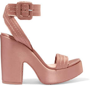 Pedro Garcia Thora Frayed Satin Platform Sandals - Blush